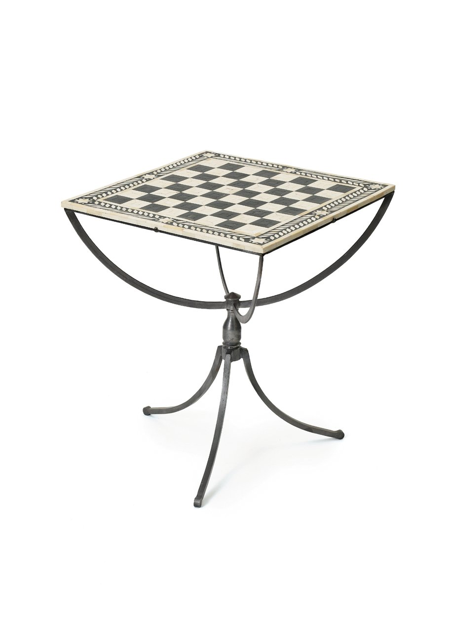 Modern Retro Chess Table | Iron Black White Game Accent