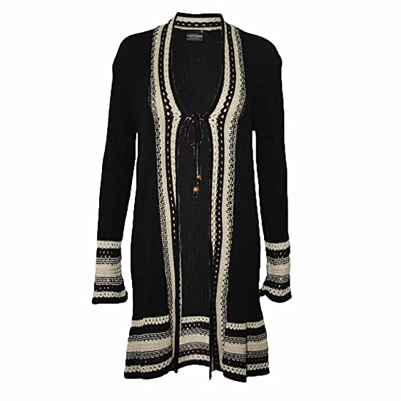 Womens Ladies Long Sleeve Ribbed Knit Waterfall Crochet Long ...