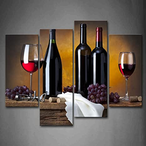 Amazon Com First Wall Art Grape Wine In Bottle Cups Kitchen Painting Pictures Print On Canvas Food The Picture For Home Modern Decoration Posters Prints