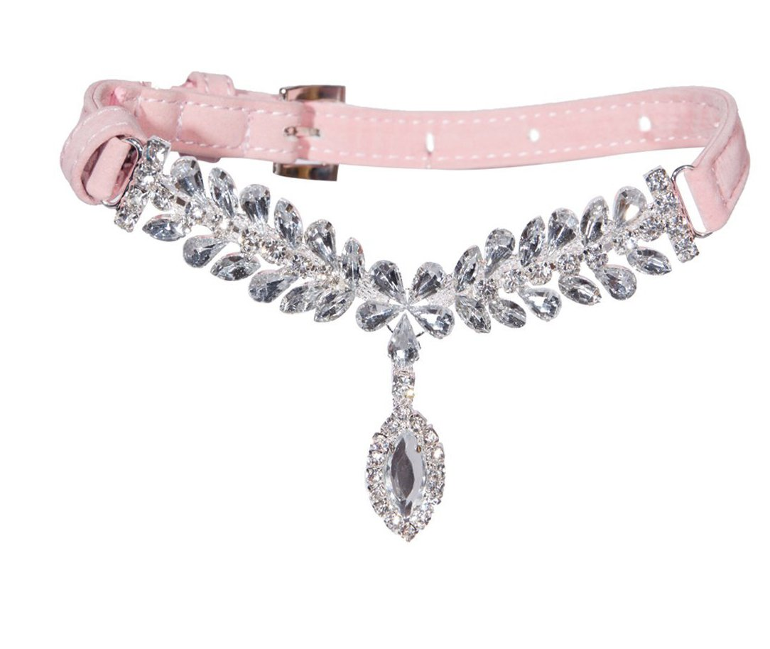 EXPAWLORER Pink Extra Small Fashion Jeweled Diamante Dog Cat Puppy Collars Necklace Style