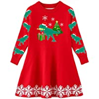 4ce32a422229 Funnycokid Little Girls Christmas Dress Xmas Gifts Knitted Sweater Dresses  2-9T