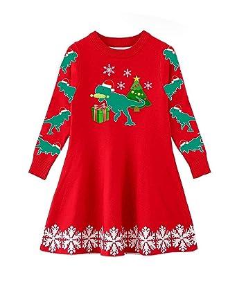 5d2267597 Amazon.com  Funnycokid Little Girls Christmas Dress Xmas Gifts ...