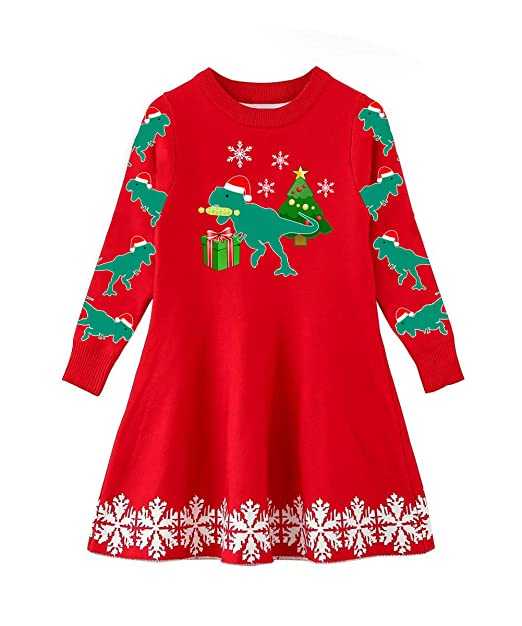 09db898bc4 Funnycokid Little Girls Christmas Dress Xmas Gifts Knitted Sweater Dresses  2-9T