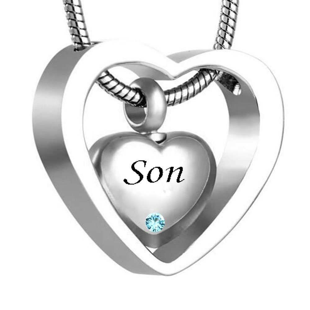WK Double Heart Silver Son Cremation Urn Necklace Pendant Funnel Fill Kit Keepsake Memorial Ashes