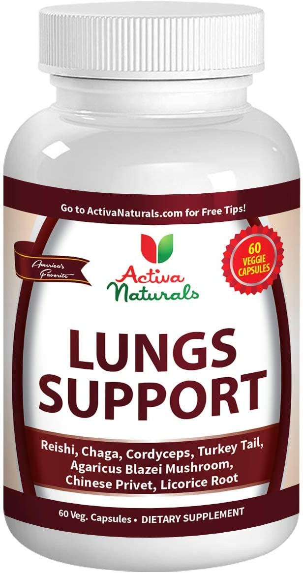 Lungs Supplement with Reishi, Chaga, Cordyceps, Turkey Tail, Agaricus Blazei Mushrooms and Licorice Root for Comprehensive Lung Respiratory Health Support, 60 Veggie Caps
