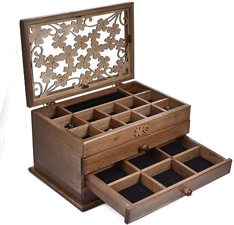 Childlike Caja De Almacenamiento De Joyas De Madera, Estuche Organizador De Joyas De 3 Capas con 3 Cajones, para Pendientes Collar Horquilla, 32 X 21 X 17 Cm: Amazon.es: Hogar