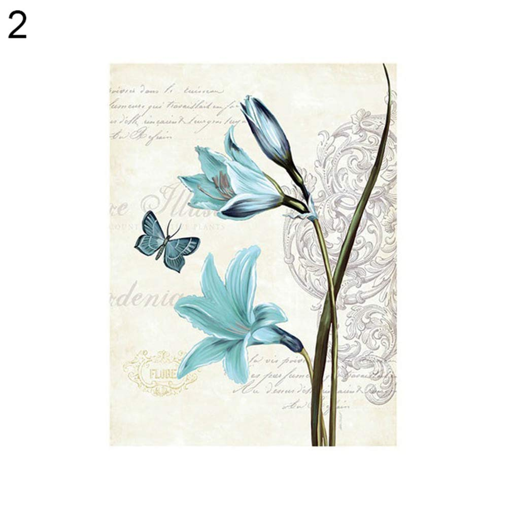 display08 Nordic Retro Butterfly Flower Canvas Wall Painting Home Cafe Hotel Art Decor 1# 20cm x 25cm