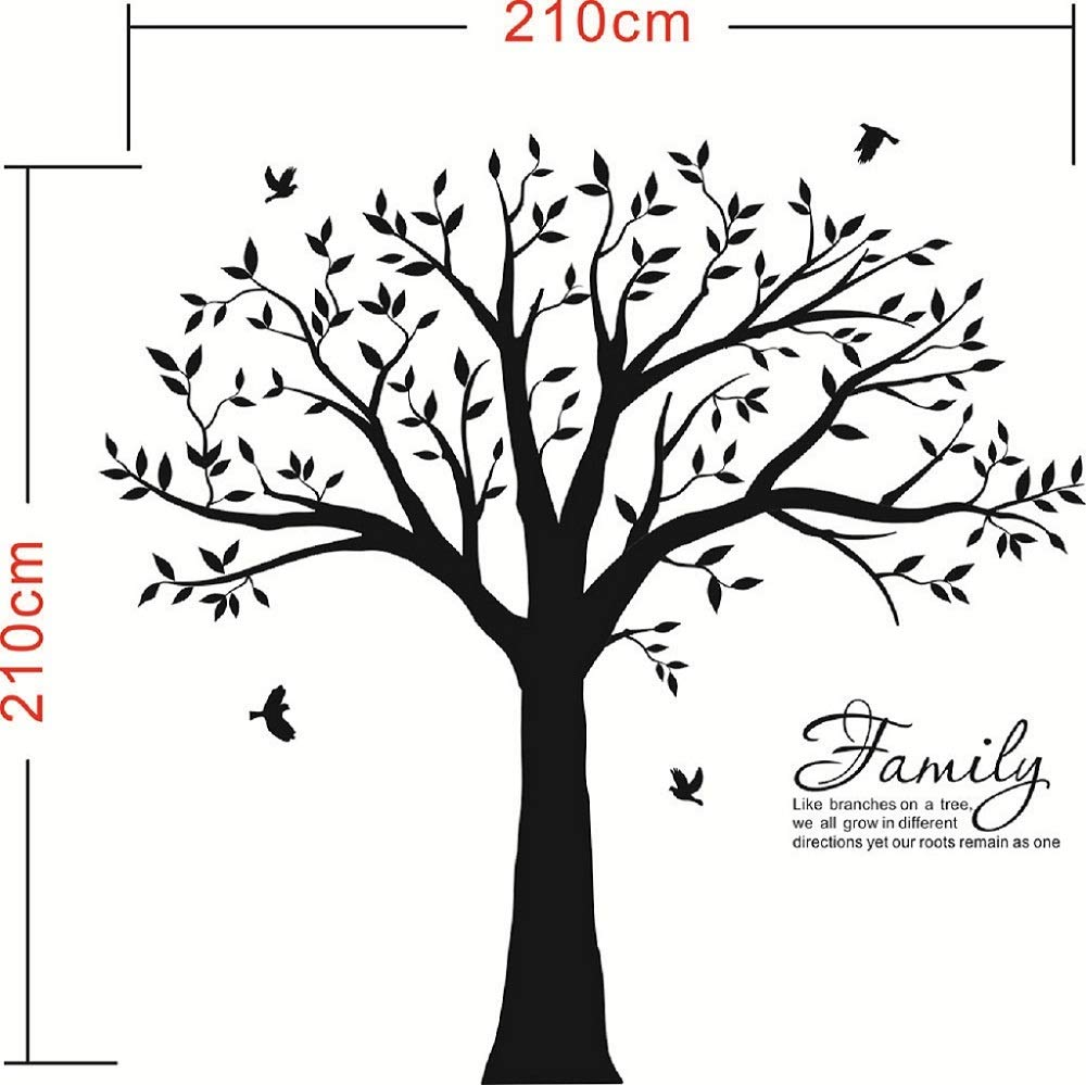 LUCKKYY Grant Family Tree Wall Decal with Family Like Branches on a Tree Quote Wall Decal Tree Wall Sticker (83'' Wide x 83'' high) (Black) by LUCKKYY (Image #5)