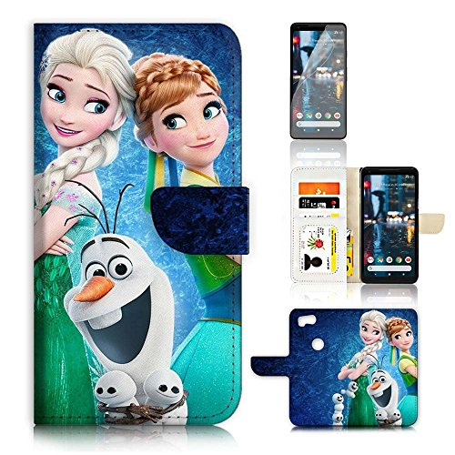 (For Google Pixel 2) Flip Wallet Case Cover & Screen Protector Bundle - A21553 Frozen Elsa Anna Olaf