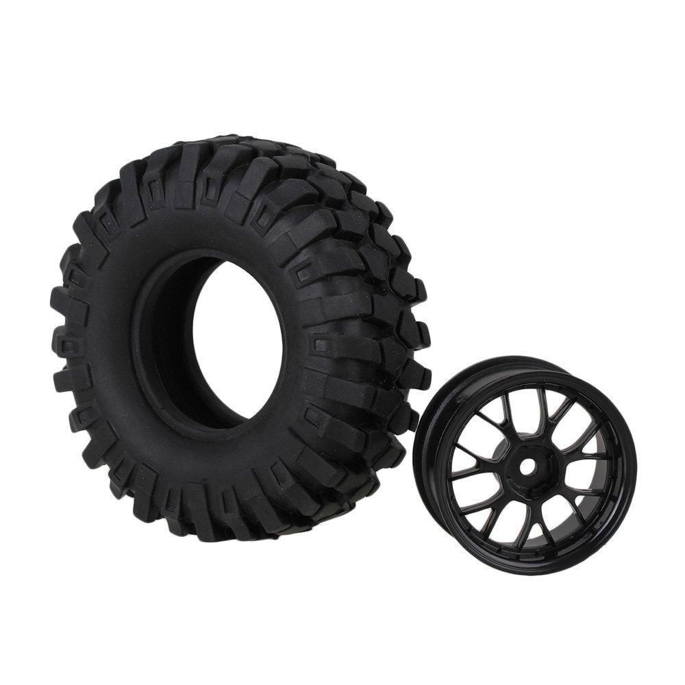 Mxfans 106mm OD Black Simulation Rubber Tyre Tires Sponge Insert /& 26mm Width Plastic Y Type Wheel Rim for RC 1:10 Rock Crawler Pack of 4