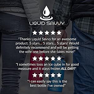 32 oz Insulated Water Bottle with 3 lids - Stainless Steel, Wide Mouth Double Walled Vacuum Bottle for Hot and Cold Beverages by Liquid Savvy (Blue).