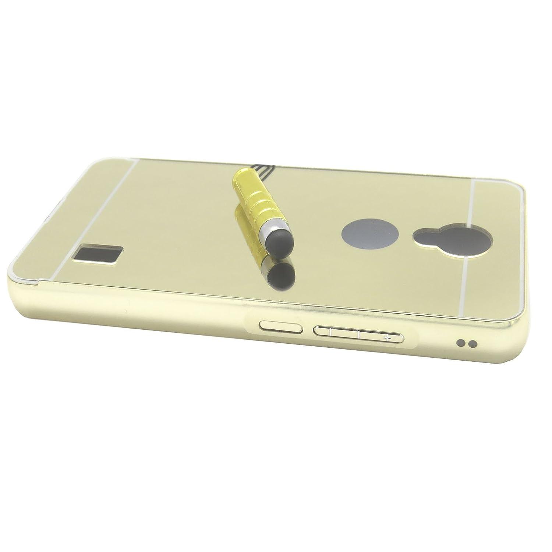 Funda Espejo Aluminio Metal Carcasa para Huawei Y635 Color Oro
