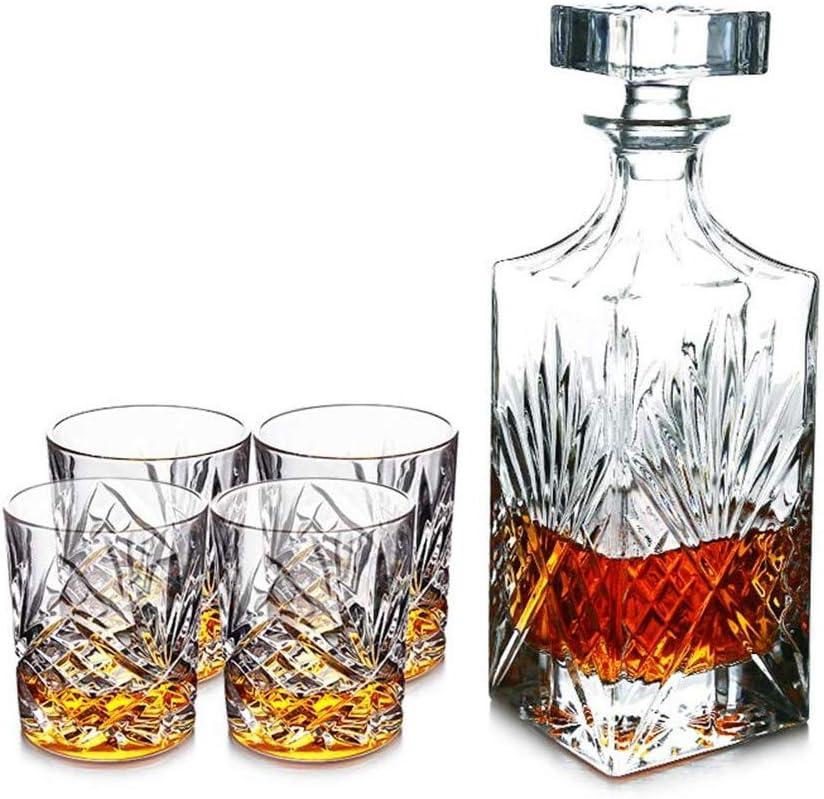 KJRJX 5PC Hecho a Mano de Cristal de Whisky y Whisky Decanter Vasos, Decorado, Cristal de la Jarra con 4 Vasos, Whisky 100% Libre de Plomo Whisky de Cristal Conjunto