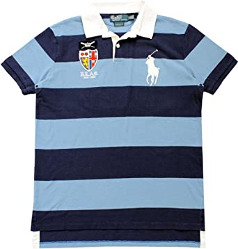 Polo Ralph Lauren Men\u0026#39;s Custom Fit Big Pony Striped Rugby, Lt Blue/Navy,