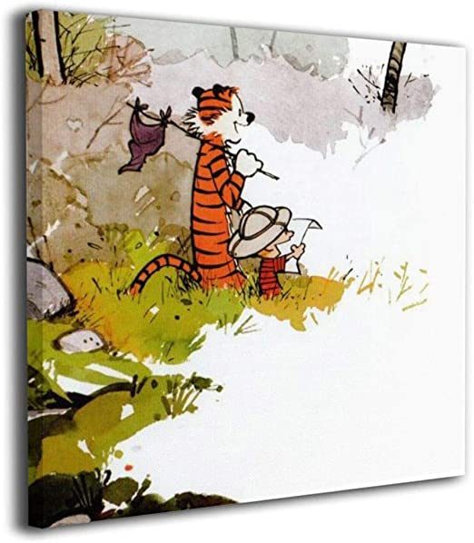 NICHOLAS TOMLINSON Calvin and Hobbes Custom Canvas Prints with Personalized  Canvas Pictures for Living Room Bedroom Office Home Decor Framed Ready to  ...