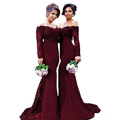 LovelyGirl Womens Boat Neck Long Sleeve Prom Dress Lace 2018 Long Mermaid Evening Dress Burgundy US2
