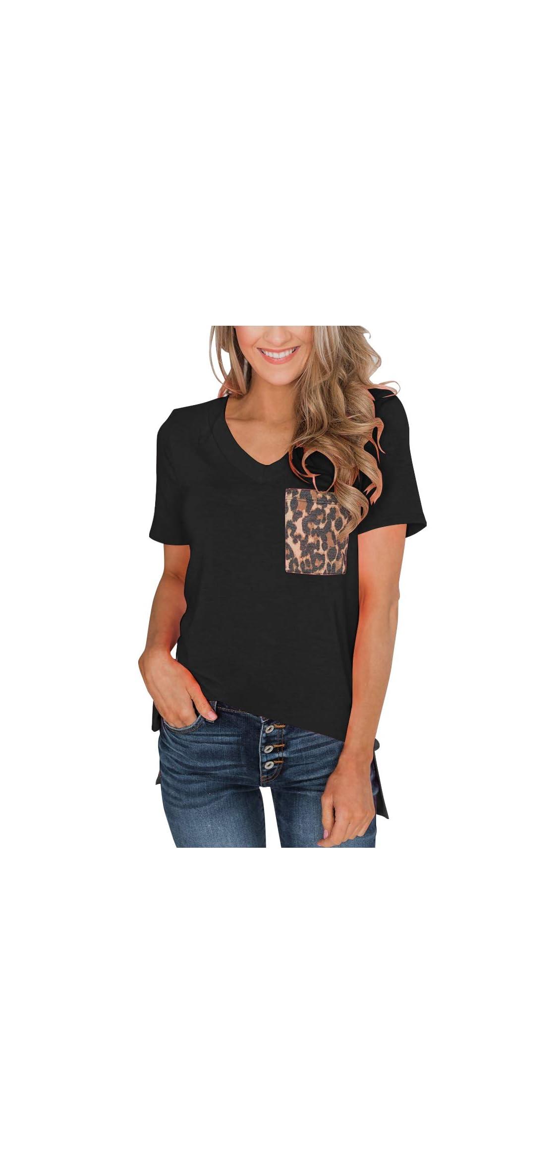 Women's Leopard Pocket Summer Tops Short Sleeves V T