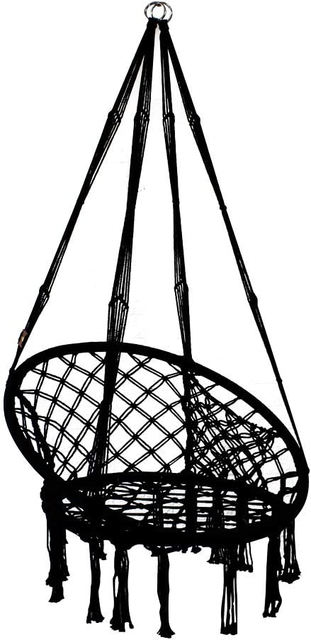 PIRNY Hammock Chair Rope Swing with Side Storage Bag-Handwoven Cotton Hanging Chair for Indoor Outdoor Patio Garden Porch,Capacity Up to 500 LB(Black)