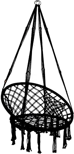 PIRNY Hammock Chair Rope Swing with Side Storage Bag-Handwoven Cotton Hanging Chair for Indoor Outdoor Patio Garden Porch,Capacity Up to 500 LB Black