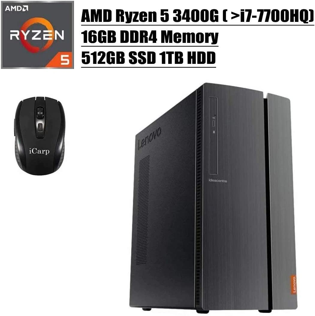 2020 Newest Lenovo IdeaCentre 510A Desktop Computer, AMD Quad-Core Ryzen 5 3400G (Beats i7-7700HQ), 16GB DDR4 512GB SSD 1TB HDD, DVD HDMI WiFi Wired Keyboard and Mouse Win 10 + iCarp Wireless Mouse