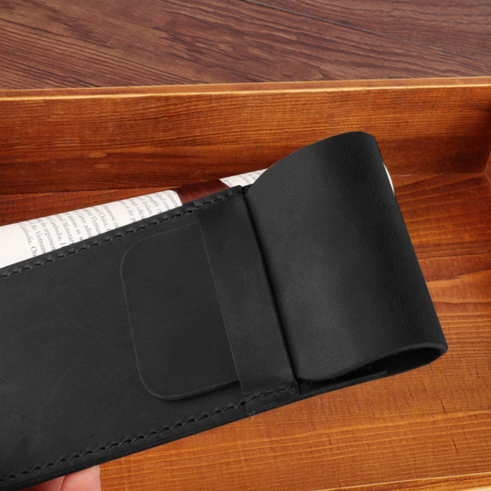 Black Daimay Leather Pen Case Holder Handmade Fountain Multi Pens Pouch Crazy Horse Leather Pen Protective Sleeve Cover Large