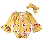 Newborn Baby Girl Floral Bodysuit+Headnband 2pcs Summer Flare Sleeve Fashion Jumpsuit 0-24Months (0-6 Months, Yellow)