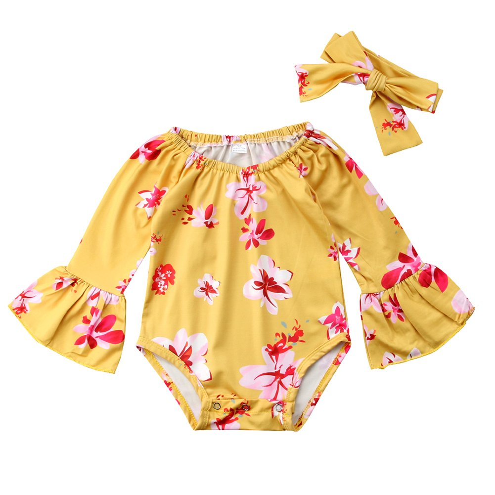 Newborn Baby Girl Floral Bodysuit+Headnband 2pcs Summer Flare Sleeve Fashion Jumpsuit 0-24Months (18-24 Months, Yellow)