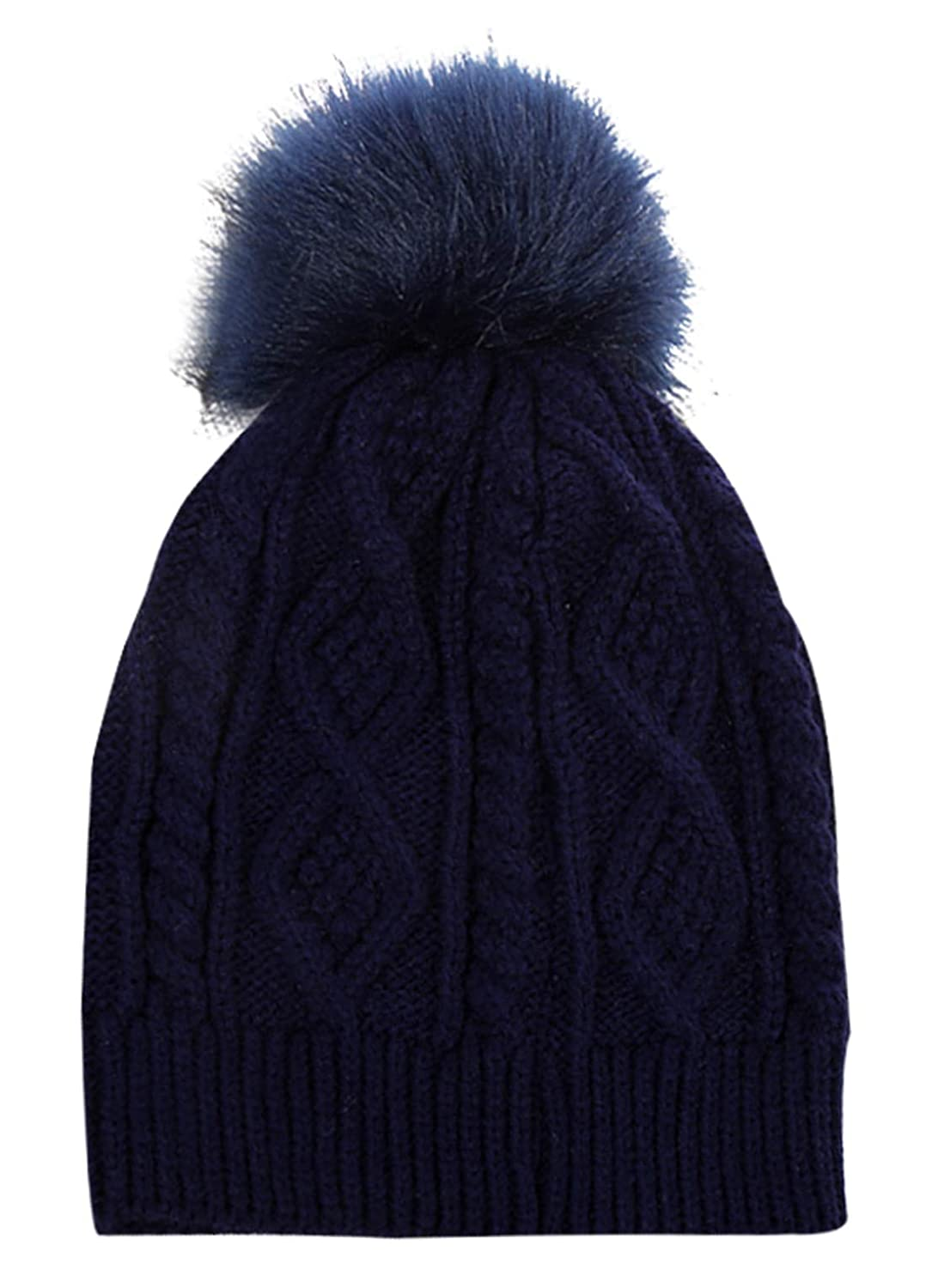 Amazon.com  FEOYA Women Winter Hats with Pom Pom - Soft Warm Skull Cap  Multicolor Stretched Knitted Hat Brown  Clothing 9698a137acee