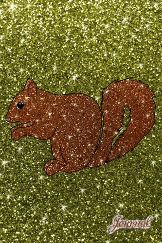 Journal: Faux olive green glitter brown glitter squirrel notebook