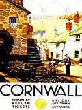 TRAVEL TOURISM CORNWALL ENGLAND VILLAGE HARBOUR LIGHTHOUSE UK ART PRINT CC2027