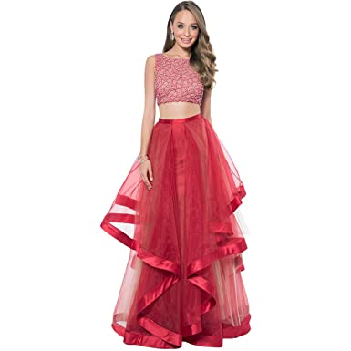 0cea8098f4cf0 Amazon.com: Terani Couture Crystal Prom Crop Top Dress: Clothing