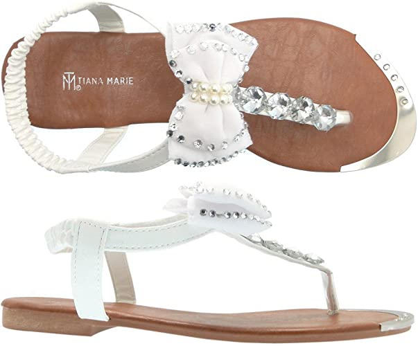 Ella White Embellished Bow Sandals (8