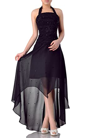 b115eaccd859 Chiffon Natrual Halter Bateau Sleeveless Sheath Special Occasion Night Out  &Cocktail, Color Black,2