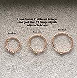 14k Rose Gold Filled Adjustable Metal Hoop Nose ring - 22 Gauge 6-8 mm