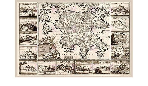 MAP ANTIQUE DE WIT 1688 MOREA GREECE HISTORIC LARGE REPLICA POSTER PRINT PAM0882