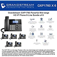 Grandstream GXP1760 Bundle of 6 Powerful Mid-range HD IP Phone 6-Line, 3 SIP accounts