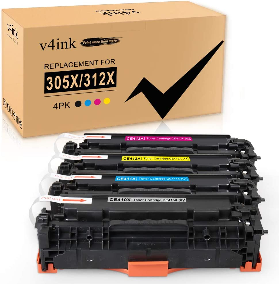 v4ink Remanufactured Toner Cartridge Replacement for HP 305X CE410X 305A CE410A for use with HP Laserjet Pro 400 Color MFP M475dn M475dw M451nw M451dn M451dw HP Pro 300 MFP M375nw (4-Pack)