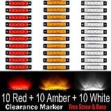 (Pack of 30) LEDVillage 10 pcs Amber + 10 pcs Red + 10 pcs White 3.8' 6 LED Side Marker Lights, Trailer Marker Lights, Rear Side Marker Lamp, Led Marker Lights for Trucks, Cab Marker, RV Marker light