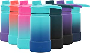 Simple Modern 14 Ounce Summit Water Bottle with Chug Lid & Protective Boot - Hydro Vacuum Insulated Flask 18/8 Stainless Kids - Ombre: Pacific Dream