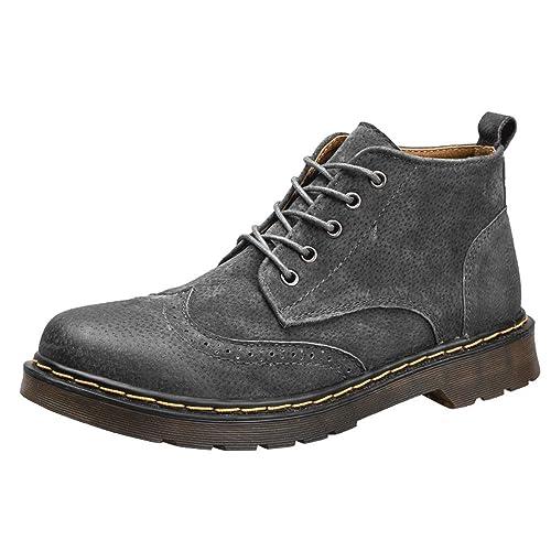 HILOTU Botines para Hombre, Cómodos Zapatos Oxfords Brogues Retro Estilo con Cordones Botas Altas de Chukka: Amazon.es: Zapatos y complementos