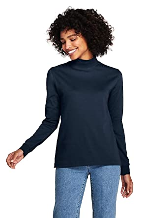 854eec2c51ac Image Unavailable. Image not available for. Color: Lands' End Women's  Petite Relaxed Cotton Mock Turtleneck