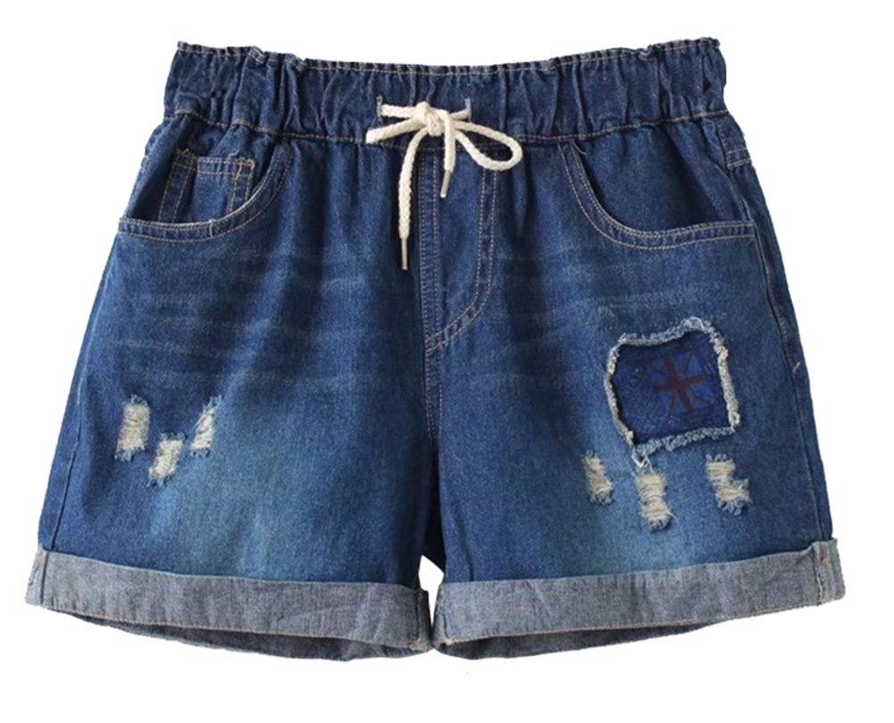 D-Sun Women Casual Plus Size Ripped Destroyed Jeans Shorts Fringe Cuff with Elastic Waist (Style 1, XL) by D-Sun