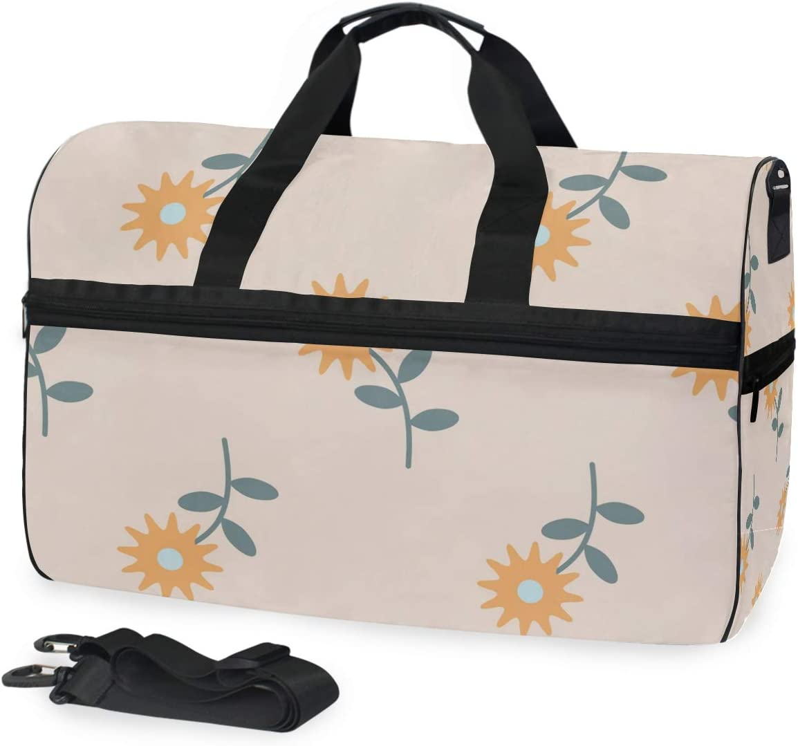 Chrysanthemum Floral Pattern Sports Gym Bag with Shoes Compartment Travel Duffel Bag for Men Women