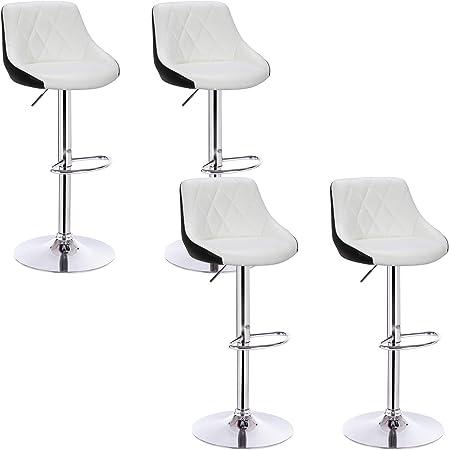 Drehbar Sitzfl/äche aus Kunstleder Wei/ß+Schwarz BH30ws-4 verchromter Stahl WOLTU 4er Set Barhocker Trensenstuhl Barstuhl Design Hocker 2 farbig mit R/ücklehne