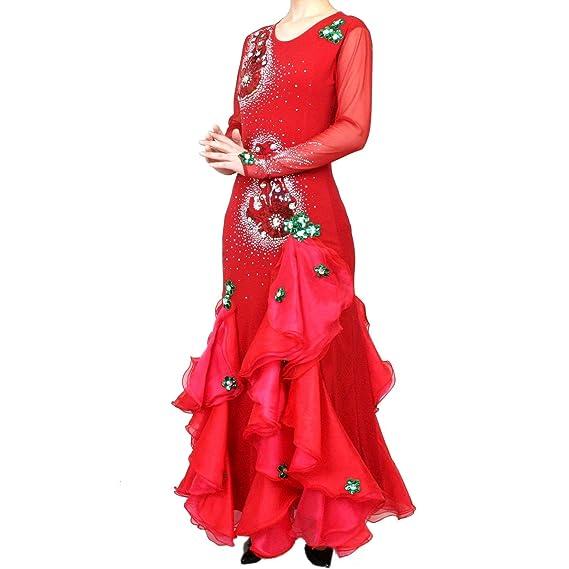2b7492903e666 ロングドレス カラオケ ダンス 演奏会 発表会 舞台 ステージ衣装 赤 (M~L