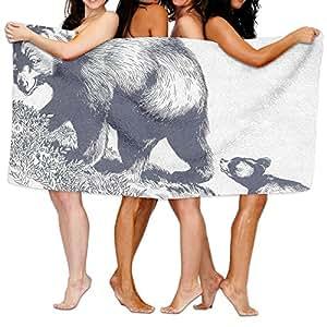 "Bear Family Bath Towels Beach Bathroom Body Shower Towel, 31.5"" X 51.2"" Mini Multi-purpose, Ideal For Home And Travel Use"