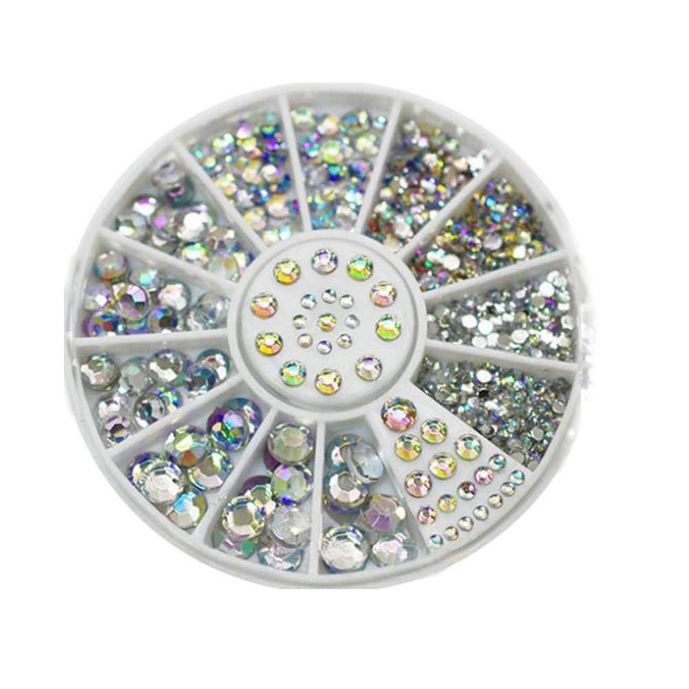 1box Fashion Nail Art Rivets Glitter Acrylic Fingernail Gems Multi Usage Nail Art Rhinestones ColorfulNail manicure rhinestone decoration color 1 box (multi-size) RUNFON