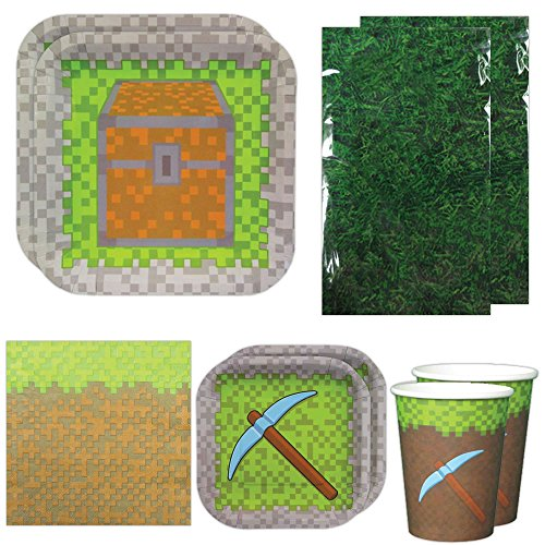 Mining Fun Deluxe Party Packs (For 16 Guests), Minecraft Inspired Birthday Party Supplies, Pixel (Party Minecraft)