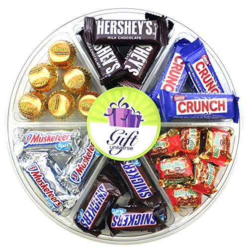 Gift Universe Wrapped Chocolate Gift Tray with Snickers, Hershey's, Nestle, Musketeers and Milky Way - 6 Section Variety Pack of Chocolates