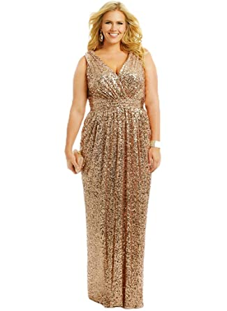 HUINI Plus Size Bridesmaid Dresses Sequin Long Prom Dress Gold UK6